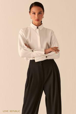 Рубашка с объемными рукавами и запонками на манжетах фото