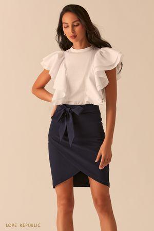 Белая блузка с объемными рукавами-воланами фото