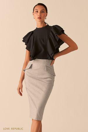 Черная блузка с объемными рукавами-воланами фото