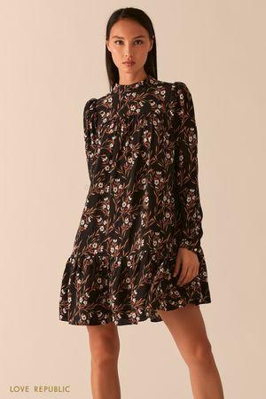Черное платье бэби долл с рукавами-фонариками фото