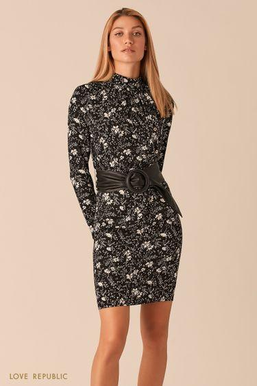 Черное платье с цветочным принтом и кожаным поясом 0358024535
