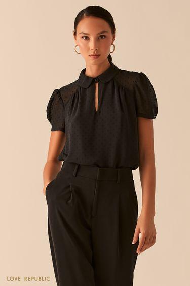Черная блузка с рукавами-фонариками и отложным воротничком 0358025319