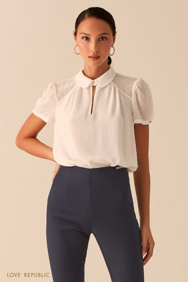 Молочная блузка с рукавами-фонариками и отложным воротничком 0358025319