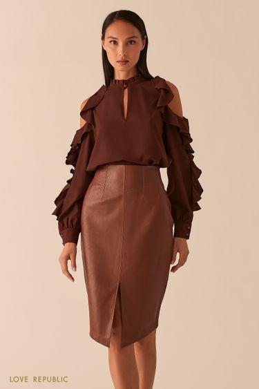 Блузка с открытыми плечами и воланами шоколадного цвета 0358044338