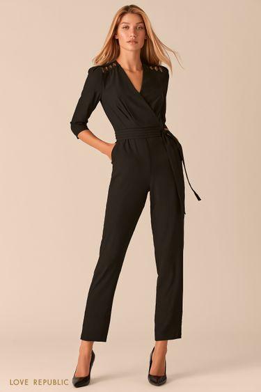 Черный комбинезон с ажурной вышивкой и вырезом на спине 0358054722