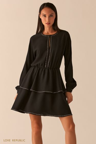 Черное платье с ярусным подолом 0358062577