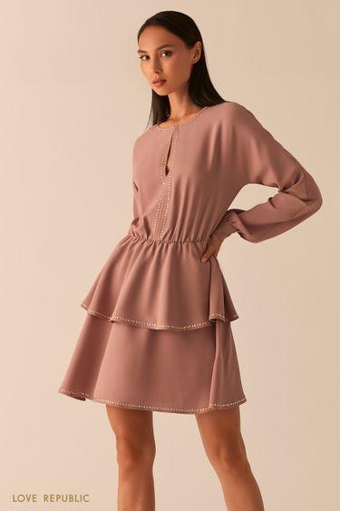 Платье с ярусным подолом цвета капучино 0358062577