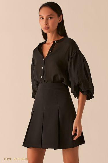 Свободная черная блузка из жатого тенсела 0358068371