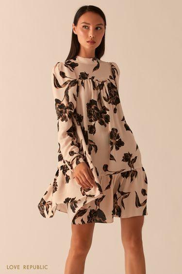 Бежевое платье с рукавами-фонариками 0358076560