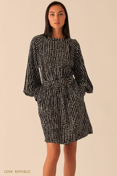 Черное платье с объемными рукавами реглан 0358077529