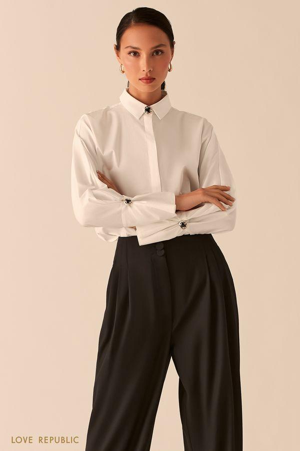 Рубашка с объемными рукавами и запонками на манжетах 0358004304-1
