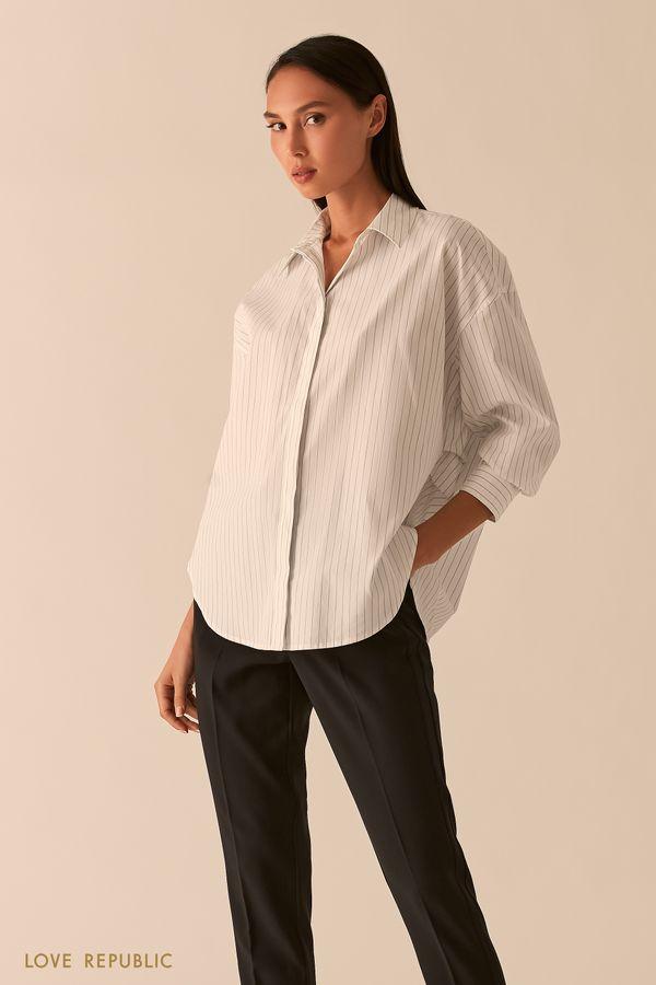Базовая белая рубашка в полоску 0358005305-5