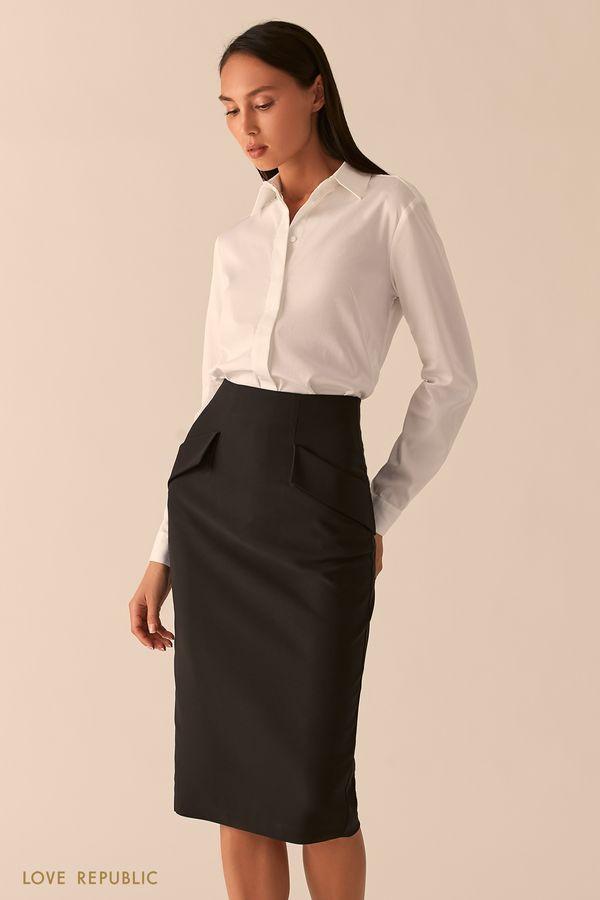 Базовая рубашка белого цвета с закрытой пуговичной планкой 0358008308-1