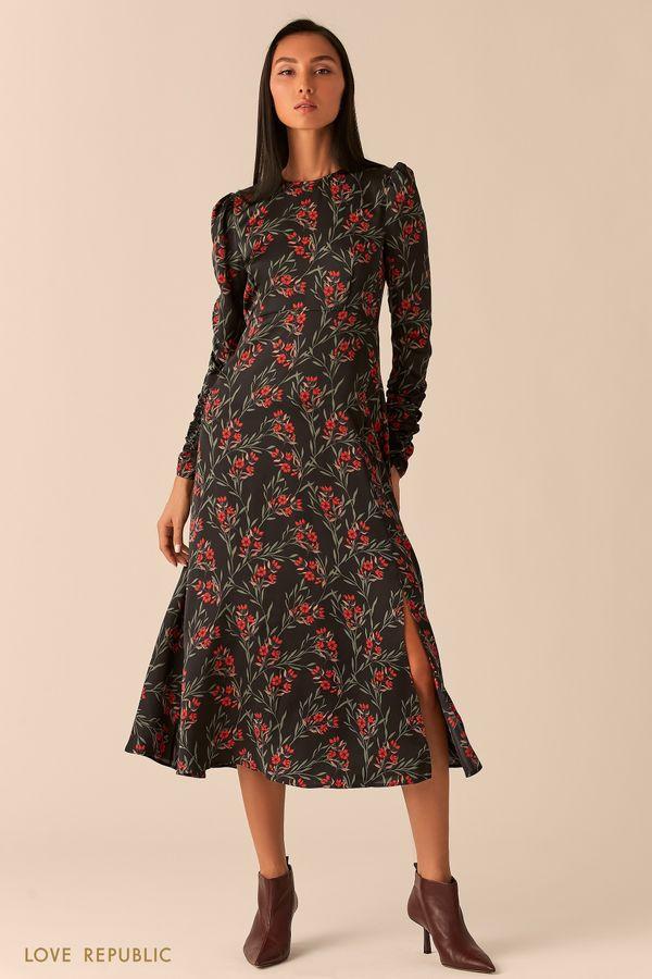 Струящееся миди платье с разрезом 0358011513-55
