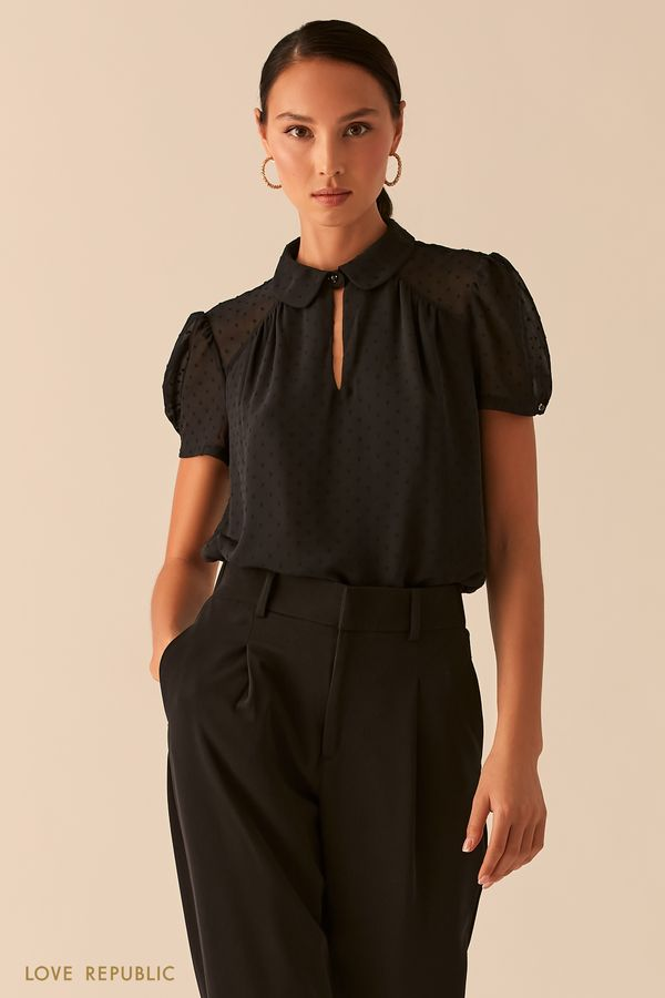 Черная блузка с рукавами-фонариками и отложным воротничком 0358025319-50