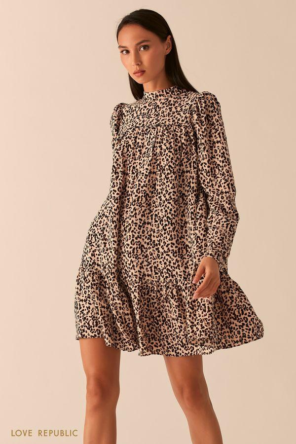 Платье бэби долл с рукавами-фонариками и анималистичным принтом 0358029560-54