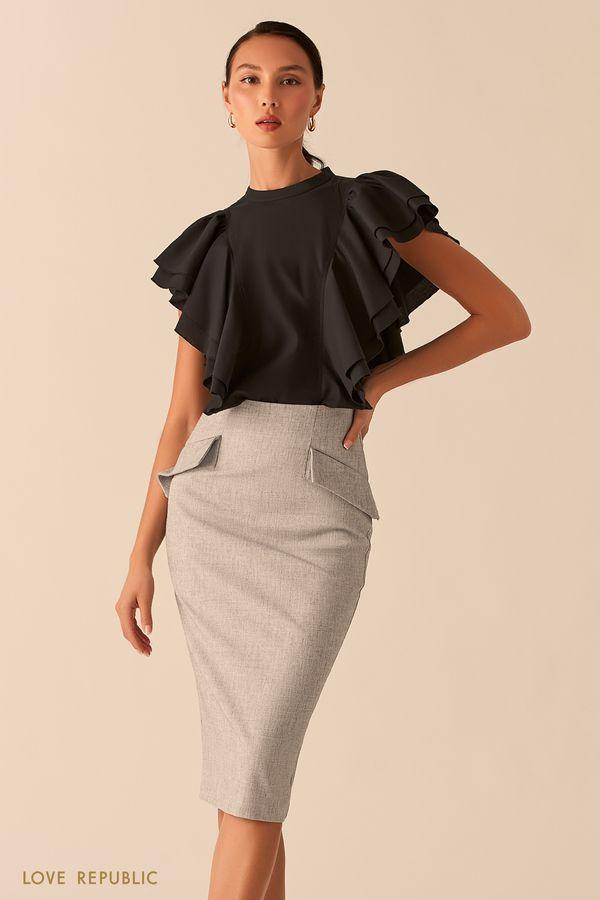 Черная блузка с объемными рукавами-воланами 0358049342-50