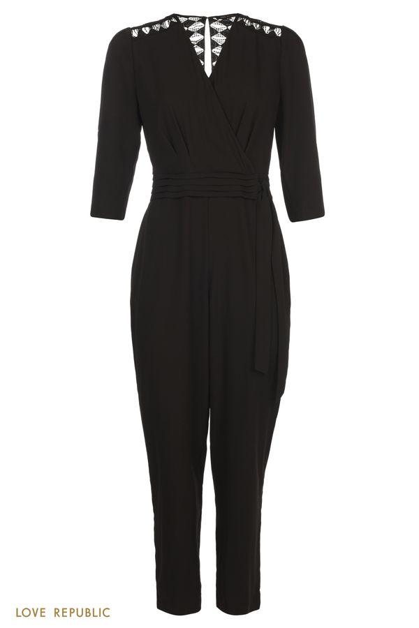 Черный комбинезон с ажурной вышивкой и вырезом на спине 0358054722-50