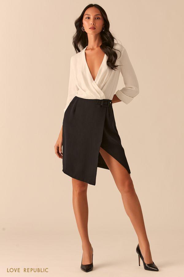 Комбинированное черно-белое платье с запахом 0358073546-53