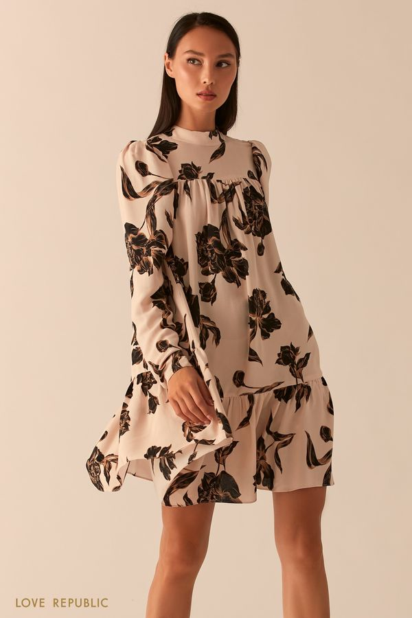 Бежевое платье с рукавами-фонариками 0358076560-65