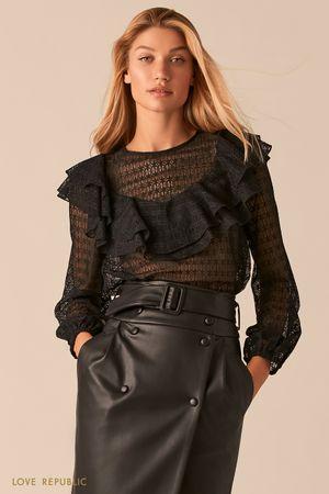 Черная кружевная блузка в стиле бохо с воланами