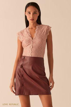 Кружевная блузка с V-образным вырезом фото