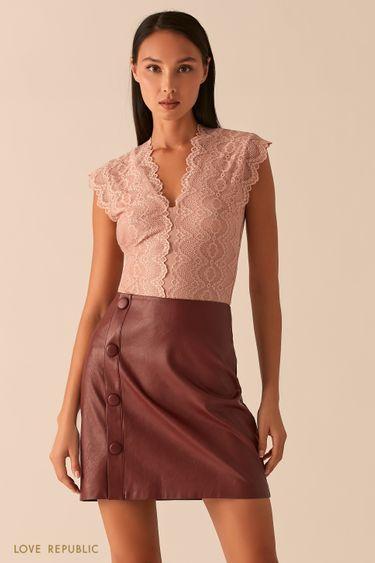 Кружевная блузка с V-образным вырезом 0358124380