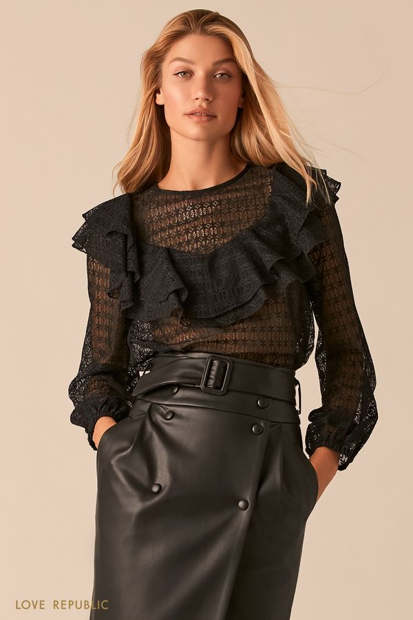 Черная кружевная блузка в стиле бохо с воланами 0358106331-50