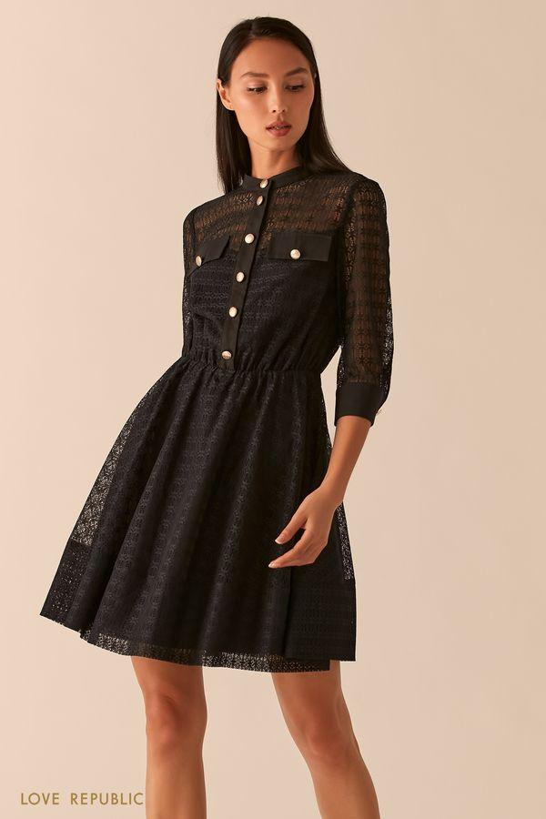 Черное кружевное платье с пуговицами на лифе 0358106581-50