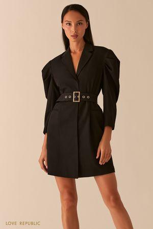 Платье-пиджак с объемными рукавами и поясом на талии черного цвета фото