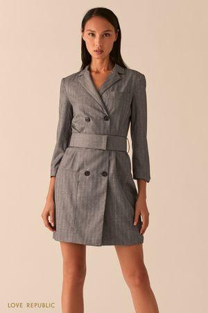 Темно-серое двубортное платье-пиджак фото