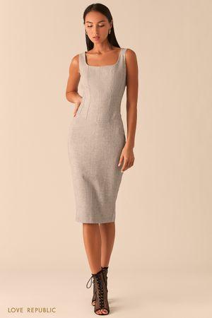 Платье с корсетным топом в оттенке серый меланж фото