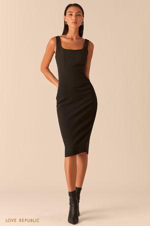 Черное платье с корсетным топом фото