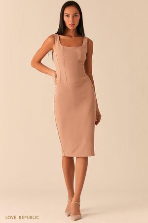 Бежевое платье с корсетным топом фото