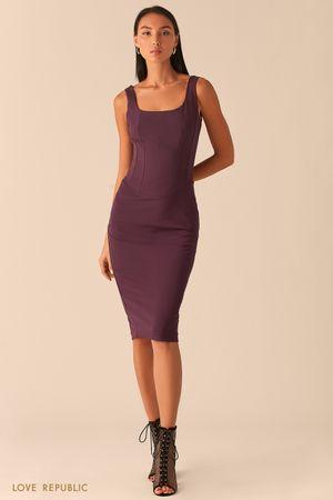 Платье с корсетным топом сливового оттенка фото