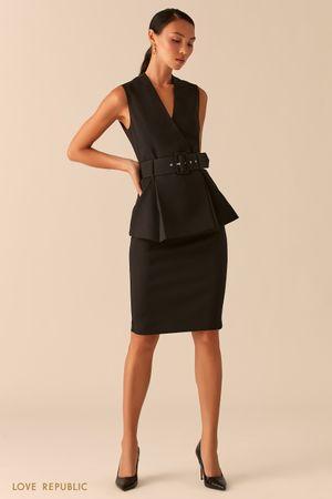 Черная базовая юбка карандаш с акцентной молнией на спине фото