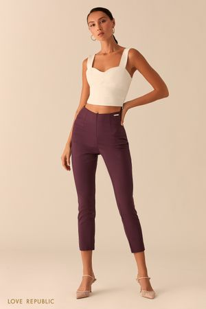 Укороченные брюки скинни сливового цвета фото