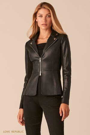 Комбинированная куртка-жакет в черном цвете фото