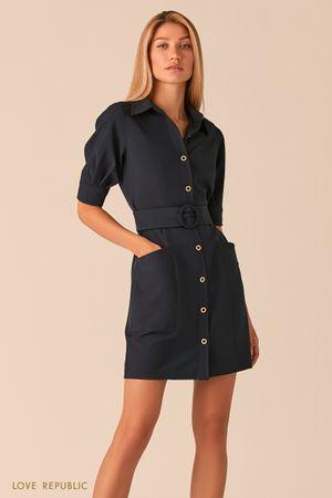 Темно-синее платье мини с рядом пуговиц и поясом на талии фото