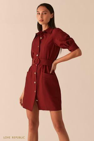 Платье мини с рядом пуговиц и поясом на талии винного цвета фото