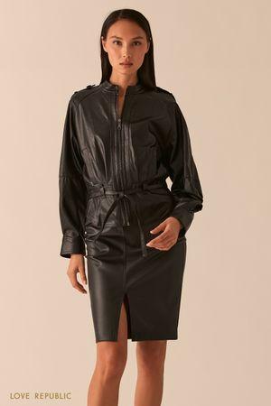 Черная свободная куртка из экокожи с рукавами реглан фото