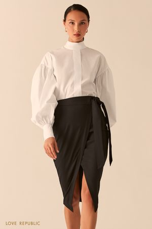 Черная юбка миди на запах с разрезом фото