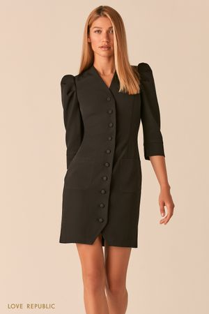 Короткое платье на пуговицах с рукавами-буфами черного цвета фото