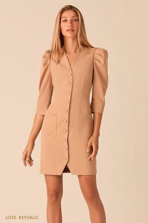 Короткое платье на пуговицах с рукавами-буфами кремового цвета
