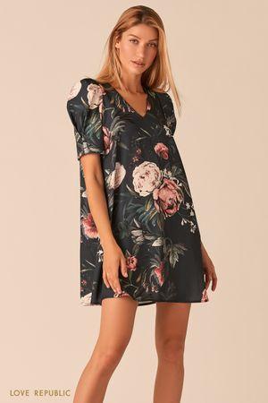 Мини платье с рукавами-фонариками и цветочным принтом фото