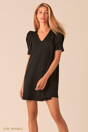 Черное мини платье с короткими рукавами-фонариками фото