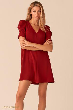 Мини платье с короткими рукавами-фонариками ягодного оттенка фото