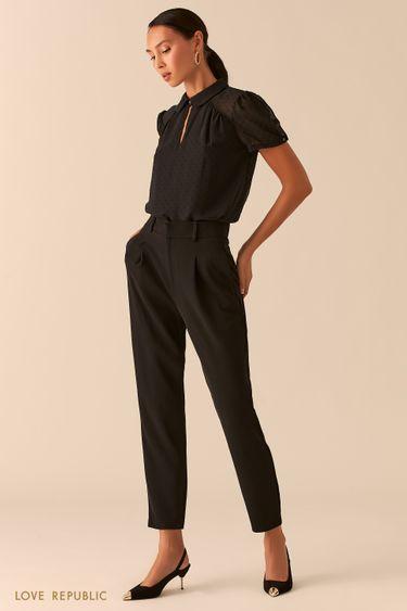 Черные брюки-бананы с высокой посадкой 0358204701