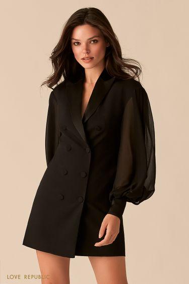 Платье-пиджак с рукавами-буфами и атласными лацканами 0358206502