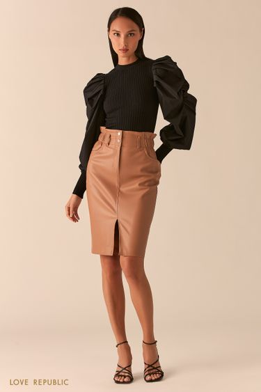 Бежевая юбка-карандаш из экокожи с разрезом 0358207224